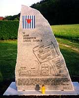 The KZ Gusen III monument shows a sketch of this small concentration camp with its warehouse and bakery
