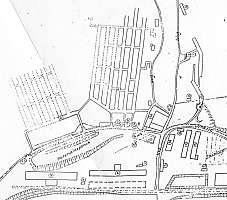 The Kellerbau tunnels directly north of the KZ Gusen I & II concentration camps were subdivided in sections I, II, III & IV. From left to right: Kellerbau IV (dotted lines), Kellerbau III (central tunnel grid), Kellerbau I & II (the two tunnels right