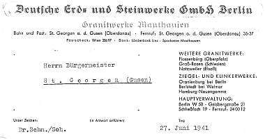 Letterhead of DEST Administration at St. Georgen/Gusen, 1941