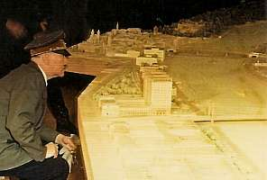 Hitler inspecting model of his hometown Linz/Donau, Austria